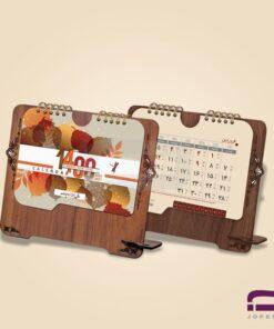 تقویم رومیزی چوبی O70 دارای جای خودکار